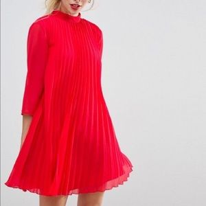 NWT ASOS Red pleated trapeze mini dress Size 10